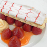 John Torode mille feuille with glazed strawberries and diplomat cream recipe on Celebrity Masterchef 2019