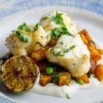 Simon Rimmer Monkfish with Spiced Potato and Lime Yoghurt recipe on Sunday Brunch