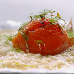 Jamie's roasted tomato risotto with vermouth, thyme, onion and fennel recipe on Meat-Free Meals