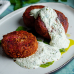 Simon Rimmer Beetroot and Feta Cakes recipe on Sunday Brunch