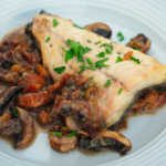 Rick Stein brill with mushrooms, cheese, pig skin and chestnuts sauce recipe on Rick Stein's Secret France