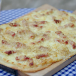 Rick Stein tarte flambée with bacon lardons and emmental cheese recipe on Rick Stein's Secret France