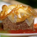Lisa Faulkner meatloaf with filo pastry, mash potatoes and barbecue sauce recipe on John and Lisa's Weekend Kitchen