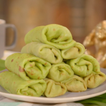 Mandy Yin Malaysian pandan pancakes with palm sugar and coconut recipe on Nadia's Family Feasts