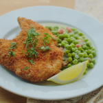 Rick Stein deep-fried pork chops in breadcrumbs with braised peas and lardons recipe on  Rick Stein's Secret France