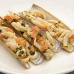 Monica Galetti razor clams with a shallot, caper and tomato sauce recipe on Masterchef The Professionals