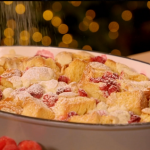 Alex Hollywood white chocolate and cranberry brioche dessert recipe on Nadia's Family Feasts
