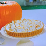Juliet Sear spiced pumpkin pie with a meringue topping recipe on Beautiful Baking with Juliet Sear