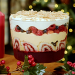 Nadia Sawalha triple boozy trifle with gin, sherry, frozen raspberries and a brandy custard recipe on Nadia's Family Feasts