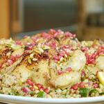 Nadia Sawalha roast Poussin with couscous and quinoa salad recipe on Nadia's Family Feasts