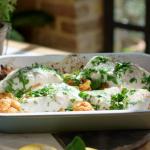 Lisa Faulkner Roast Cod with Harissa, Cauliflower, Chickpeas, and Tomatoes recipe on John and Lisa's Weekend Kitchen