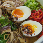 Tom Kerridge chicken with miso and mushroom ramen broth recipe on Lose Weight and Get Fit with Tom Kerridge