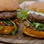Jamie Oliver stuffed burgers with onion chutney, basil mayo and mozzarella recipe on Jamie and Jimmy's Friday Night Feast