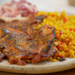 Tom Kerridge peri-peri chicken with dirty rice and coleslaw recipe on Lose Weight and Get Fit with Tom Kerridge