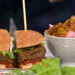 Ian and Henry (Bosh) Not-so-naughty burger and chips with a tomato relish recipe on This Morning