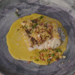 Simon Rimmer Hake with Curried Mussel Sauce and Bacon Crumb recipe on Sunday Brunch