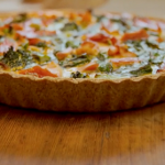 Tom Kerridge salmon with broccoli and asparagus quiche recipe on Lose Weight and Get Fit