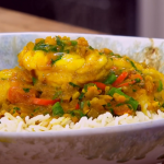 Tom Kerridge low calorie monkfish with red lentils and green beans recipe on James Martin's Saturday Morning