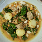 Ian and Henry's hearty and herby stew with croutons recipe on Living On The Veg