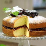 James Martin Victoria sponge with duck eggs and homemade blackberry jam recipe on James Martin's Islands To Highlands