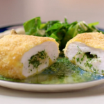 John Torode chicken kiev with herb butter and butter bean mash recipe on John and Lisa's Weekend Kitchen