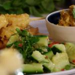 Lisa Faulkner Smashed cucumber salad recipe on John and Lisa's Weekend Kitchen