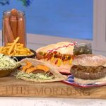 Phil Vickery fancy hot dogs with yellow mustard and crispy onions recipe on This Morning
