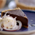 Lisa Faulkner and John Torode chocolate and coconut pie with digestive biscuits recipe on John and Lisa's Weekend Kitchen