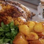 John Torode beer can roast chicken with saffron potatoes recipe on John and Lisa's Weekend Kitchen