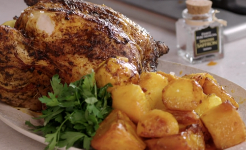 John Torode Beer Can Roast Chicken With Saffron Potatoes Recipe On John And Lisa S Weekend Kitchen The Talent Zone