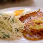 John Torode and Lisa Faulkner gammon and pineapple with a celeriac slaw and fried eggs recipe on John and Lisa's Weekend Kitchen