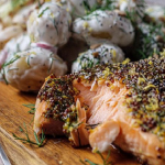 Simon Rimmer Honey Mustard Salmon with Scandi Slaw and Potato Salad recipe on Sunday Brunch