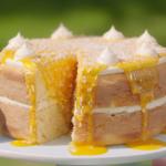 Nadiya Hussain mango and toasted coconut layered cake with yoghurt, mango puree and a buttercream filling recipe on Nadiya Bakes