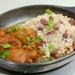 Ainsley Harriott Brown Stew Chicken with with Rice N' Peas recipe on Ainsley's Food We Love