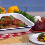 Phil Vickery 15-minute sausage traybake with peppers and black olive tapenade recipe on This Morning
