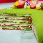 Prue Leith matcha mille crepe cake with strawberries recipe on The Great British Bake Off 2020