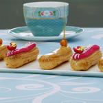Prue Leith salted caramel and raspberry eclairs recipe on The Great British Bake Off 2020