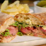 Ainsley Harriott steak sandwich with blue cheese mayonnaise and rocket recipe on Ainsley's Food We Love