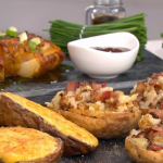 Phil Vickery mum's twice baked jacket potatoes with bacon, Welsh rarebit potatoes and blooming potato with spiced butter recipe on This Morning