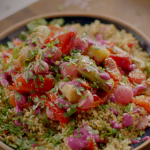 Nigella Lawson spiced bulgur wheat with roast vegetables and a beetroot, chilli and ginger sauce recipe on Nigella's Cook, Eat, Repeat