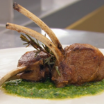 Monica Galetti French-trim a rack of lamb with mint pesto recipe on Masterchef The Professionals