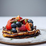 Simon Rimmer big bad cinnamon pancakes with berries and nuts recipe on Sunday Brunch