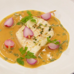 Marcus Wareing plaice fillet with chicken butter sauce and pickled radish recipe on Masterchef The Professionals