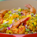 Nadiya Hussain prawn biryani with padron peppers and mango salsa recipe Nadiya's American Adventure