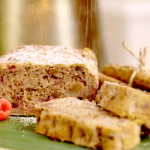 Patti Sloley pear and plantain Christmas cake with sultanas and raspberries recipe on Lorraine