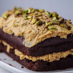 Simon Rimmer chocolate and cola cake with coffee and pistachios recipe on Sunday Brunch