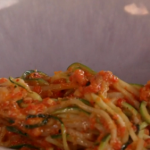 John Torode and Lisa Faulkner courgetti with roasted red peppers, pine nuts and vinegar recipe on John and Lisa's Weekend Kitchen