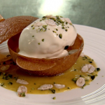 Raymond Blanc greengage nougatine with poached meringues and a sabayon cream recipe on Saturday Kitchen