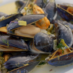 Rick Stein Cornish mussels with sorrel, cider and cream recipe on Rick Stein's Cornwall