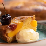 Lisa Faulkner peach upside down cake recipe on John and Lisa's Weekend Kitchen